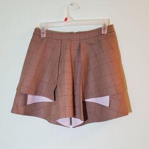 English Rose Tiered Tan Plaid Print Skirt